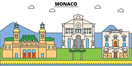Monaco, Mediterranean sea. City skyline, architecture, buildings, streets, silhouette, landscape, panorama, landmarks. Editable strokes. Flat design line vector illustration concept. Isolated icons