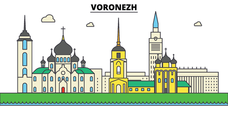 Russia, Voronezh. City skyline, architecture, buildings, streets, silhouette, landscape, panorama landmarks Editable strokes Flat design line vector illustration concept Isolated icons