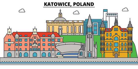 폴란드, 카토 비체. 도시 스카이 라인, 아키텍처, 건물, 거리, 실루엣, 프리, 파노라마 랜드 마크 편집 가능한 스트로크 플랫 디자인 라인 벡터 일러스트 스톡 콘텐츠
