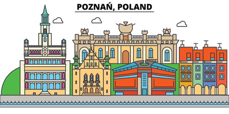 Poland, Poznan. City skyline, architecture, buildings, streets, silhouette, landscape, panorama landmarks Editable strokes Flat design line vector illustration concept Isolated icons