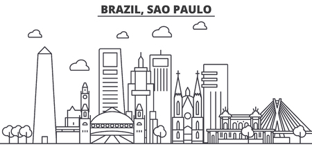Brazil, Sao Paulo architecture line skyline illustration. Linear vector cityscape with famous landmarks, city sights, design icons. Editable strokes  イラスト・ベクター素材