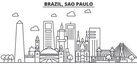 Brasil, Sao Paulo arquitectura línea horizonte ilustración. Paisaje urbano vector lineal con monumentos famosos, monumentos de la ciudad, iconos de diseño. Trazos editables Ilustración de vector