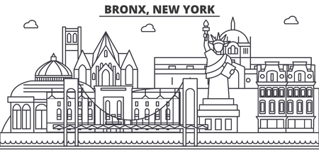 Bronx, New York architecture line skyline illustration. Linear vector cityscape with famous landmarks, city sights, design icons. Editable strokes