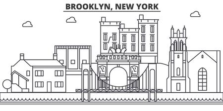 ブルックリン、ニューヨーク建築線スカイラインの図。有名なランドマーク、観光、デザイン アイコンと線形ベクトル街並み。編集可能なストロー