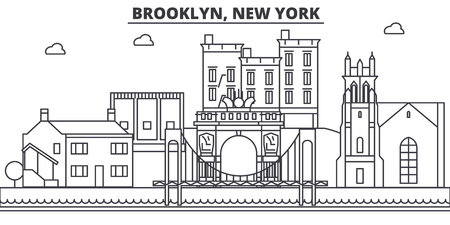 Brooklyn, New York architecture line skyline illustration. Linear vector cityscape with famous landmarks, city sights, design icons. Editable strokes