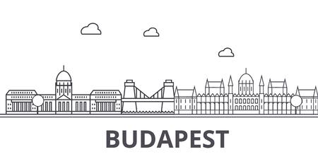 ブダペスト建築線スカイラインの図。有名なランドマーク、観光、デザイン アイコンと線形ベクトル街並み。編集可能なストローク  イラスト・ベクター素材