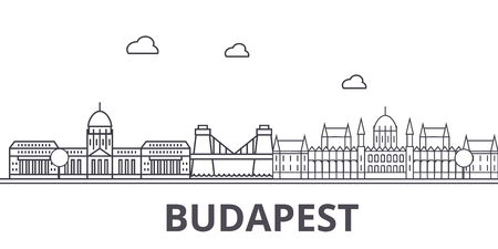Budapest architecture line skyline illustration. Linear vector cityscape with famous landmarks, city sights, design icons. Editable strokes 向量圖像