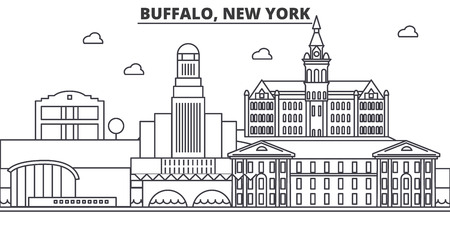 Buffalo, New York architecture line skyline illustration. Linear vector cityscape with famous landmarks, city sights, design icons. Editable strokes