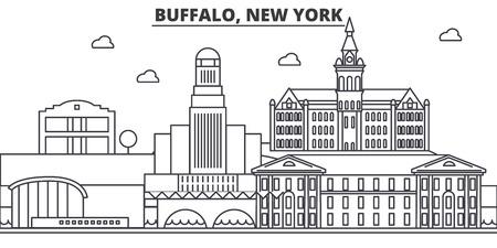 Buffalo, New York-de horizonillustratie van de architectuurlijn. Lineaire vector stadsgezicht met beroemde bezienswaardigheden, bezienswaardigheden van de stad, ontwerp pictogrammen. Bewerkbare lijnen Stock Illustratie