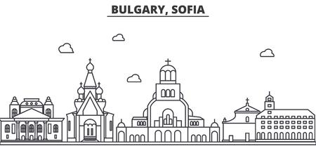 ブルガリア、ソフィアの建築線のスカイラインの図。有名なランドマーク、観光、デザイン アイコンと線形ベクトル街並み。編集可能なストローク