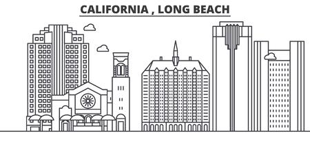 캘리포니아 롱 비치 아키텍처 라인 스카이 라인 그림입니다. 선형 벡터 도시의 유명한 랜드 마크, 도시 명소, 디자인 아이콘. 편집 가능한 스트로크 일러스트
