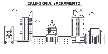 California  Sacramento architecture line skyline illustration. Linear vector cityscape with famous landmarks, city sights, design icons. Editable strokes Illustration