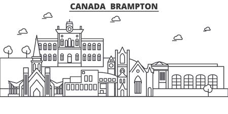 캐나다, Brampton 아키텍처 라인 스카이 라인 그림입니다. 선형 벡터 도시의 유명한 랜드 마크, 도시 명소, 디자인 아이콘. 편집 가능한 스트로크