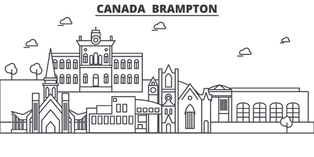 Canada, Brampton architecture line skyline illustration. Linear vector cityscape with famous landmarks, city sights, design icons. Editable strokes Illustration