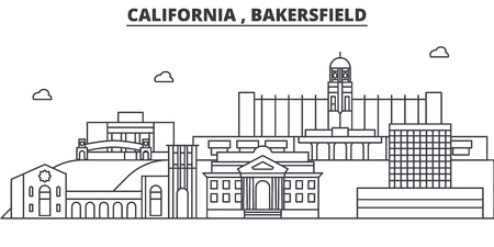 California , Bakersfield architecture line skyline illustration. Linear vector cityscape with famous landmarks, city sights, design icons. Editable strokes Иллюстрация