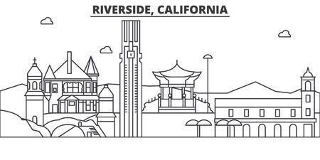 カリフォルニア州リバーサイド建築線スカイラインの図。有名なランドマーク、観光、デザイン アイコンと線形ベクトル街並み。編集可能なストロ