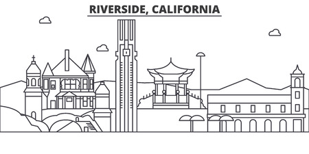 California , Riverside architecture line skyline illustration. Linear vector cityscape with famous landmarks, city sights, design icons. Editable strokes