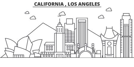 Van de de architectuurlijn van Californië Los Angeles de horizonillustratie. Lineaire vector stadsgezicht met beroemde bezienswaardigheden, bezienswaardigheden van de stad, ontwerp pictogrammen. Bewerkbare lijnen