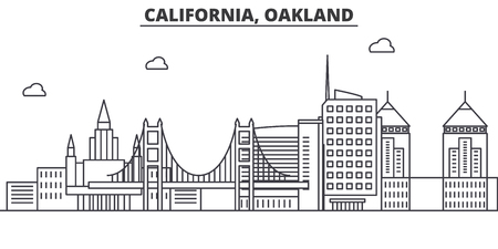 California Oakland architecture line skyline illustration. Linear vector cityscape with famous landmarks, city sights, design icons. Editable strokes
