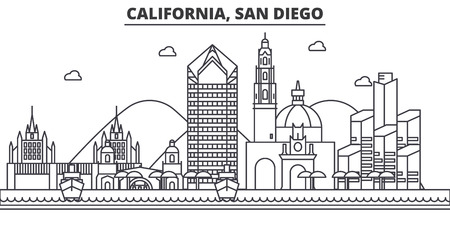 カリフォルニア州サンディエゴ建築線スカイラインの図。有名なランドマーク、観光、デザイン アイコンと線形ベクトル街並み。編集可能なストロ