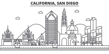 California San Diego architecture line skyline illustration. Linear vector cityscape with famous landmarks, city sights, design icons. Editable strokes