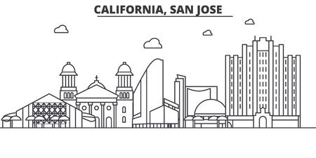 カリフォルニア州サンノゼ建築線スカイラインの図。有名なランドマーク、観光、デザイン アイコンと線形ベクトル街並み。編集可能なストローク