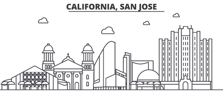California San Jose architecture line skyline illustration. Linear vector cityscape with famous landmarks, city sights, design icons. Editable strokes