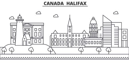Canada, Halifax architecture line skyline illustration. Linear vector cityscape with famous landmarks, city sights, design icons. Editable strokes