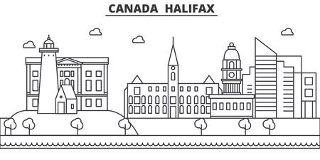 Illustrazione di linea di architettura Canada, Halifax skyline. Paesaggio urbano di vettore lineare con famosi monumenti, attrazioni turistiche, icone del design. Tratti modificabili Archivio Fotografico - 87743266