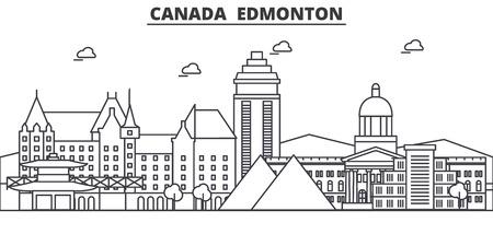 캐나다, 에드먼턴 건축 라인 스카이 라인 그림입니다. 선형 벡터 도시의 유명한 랜드 마크, 도시 명소, 디자인 아이콘. 편집 가능한 스트로크