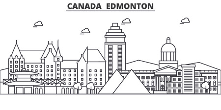 Canada, Edmonton architecture line skyline illustration. Linear vector cityscape with famous landmarks, city sights, design icons. Editable strokes
