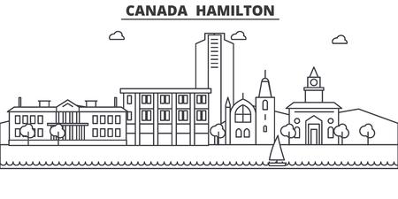 Canada Hamilton line architecture skyline illustration. Linear vector cityscape with famous landmarks, city sights, design icons. Landscape wtih editable strokes Иллюстрация