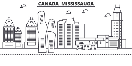 Canada, Mississauga architecture line skyline illustration. Linear vector cityscape with famous landmarks, city sights, design icons. Editable strokes