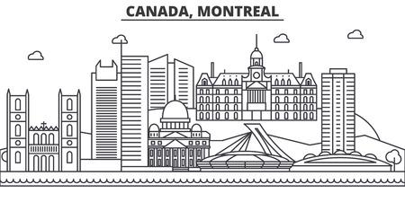 カナダ、モントリオールの建築線のスカイラインの図。有名なランドマーク、観光、デザイン アイコンと線形ベクトル街並み。編集可能なストロー