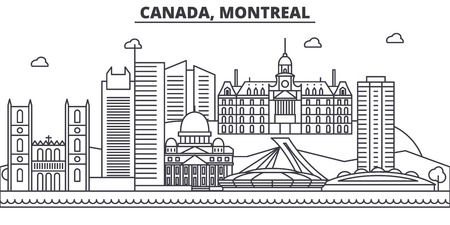 Canada, Montreal architecture line skyline illustration. Linear vector cityscape with famous landmarks, city sights, design icons. Editable strokes