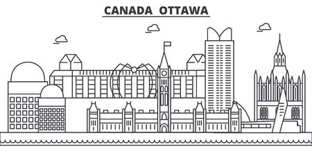 カナダ、オタワ建築線スカイラインの図。有名なランドマーク、観光、デザイン アイコンと線形ベクトル街並み。編集可能なストローク  イラスト・ベクター素材