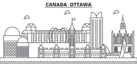 Canada, Ottawa architecture line skyline illustration. Linear vector cityscape with famous landmarks, city sights, design icons. Editable strokes Иллюстрация