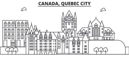 カナダ、ケベック市建築線スカイラインの図。有名なランドマーク、観光、デザイン アイコンと線形ベクトル街並み。編集可能なストローク