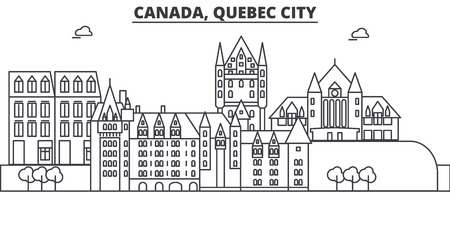 Canada, Quebec City architecture line skyline illustration. Linear vector cityscape with famous landmarks, city sights, design icons. Editable strokes