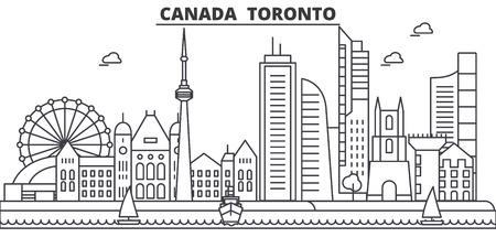カナダ、トロントの建築線のスカイラインの図。有名なランドマーク、観光、デザイン アイコンと線形ベクトル街並み。編集可能なストローク