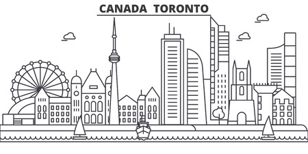 Canada, Toronto architecture line skyline illustration. Linear vector cityscape with famous landmarks, city sights, design icons. Editable strokes