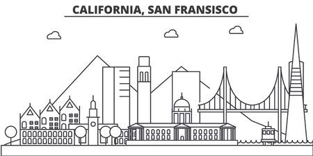 カリフォルニア州、サンフランシスコの建築線スカイラインの図。有名なランドマーク、観光、デザイン アイコンと線形ベクトル街並み。編集可能