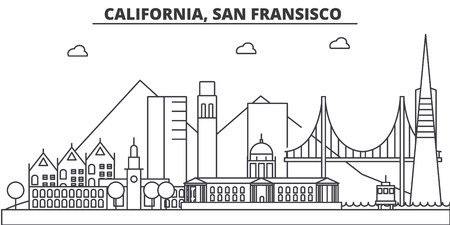 California, San Francisco architecture line skyline illustration. Linear vector cityscape with famous landmarks, city sights, design icons. Editable strokes Çizim