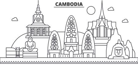 캄보디아 아키텍처 라인 스카이 라인 그림입니다. 선형 벡터 도시의 유명한 랜드 마크, 도시 명소, 디자인 아이콘. 편집 가능한 스트로크 일러스트