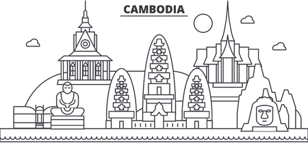 Cambodia architecture line skyline illustration. Linear vector cityscape with famous landmarks, city sights, design icons. Editable strokes