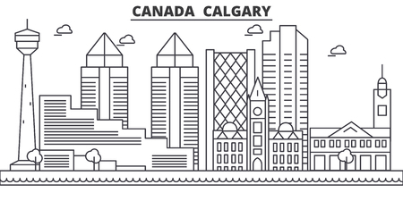 Canada, Calgary architecture line skyline illustration. Linear vector cityscape with famous landmarks, city sights, design icons. Editable strokes  イラスト・ベクター素材