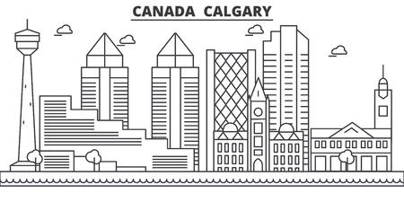 캐나다, 캘거리 건축 라인 스카이 라인 그림입니다. 선형 벡터 도시의 유명한 랜드 마크, 도시 명소, 디자인 아이콘. 편집 가능한 스트로크