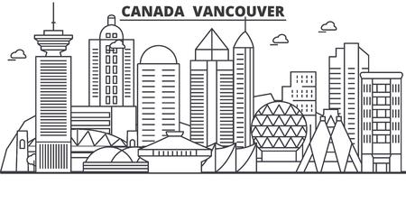 カナダ、バンクーバーの建築線のスカイラインの図。有名なランドマーク、観光、デザイン アイコンと線形ベクトル街並み。編集可能なストローク