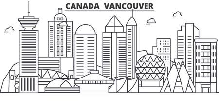 Canada, Vancouver architecture line skyline illustration. Linear vector cityscape with famous landmarks, city sights, design icons. Editable strokes