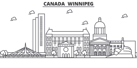 Canada, Winnipeg architecture line skyline illustration. Linear vector cityscape with famous landmarks, city sights, design icons. Editable strokes Illustration